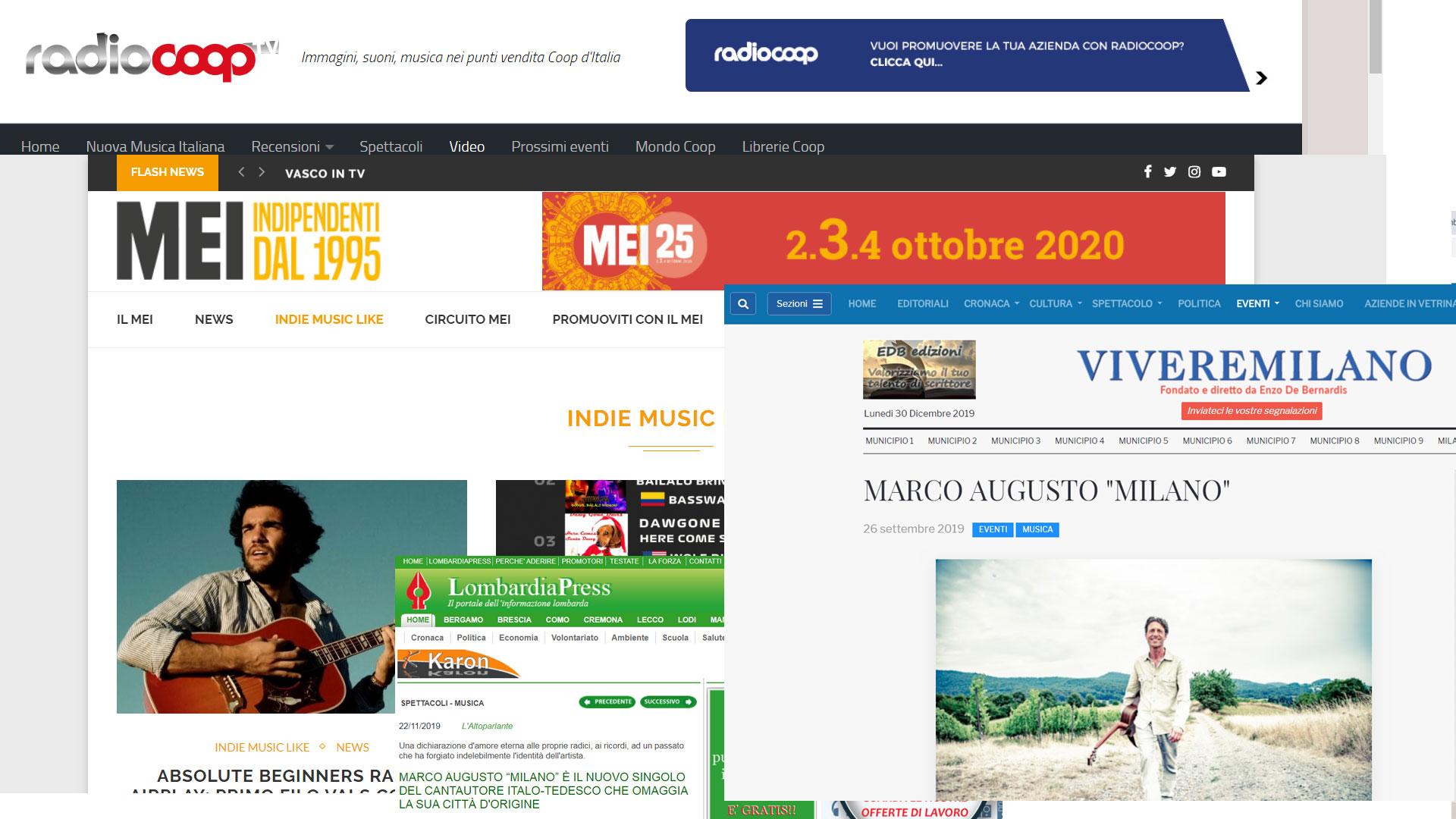 """Milano"" Platz 53 Indie Music Like-Charts Italia"